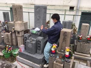 高倉墓地で追加彫り