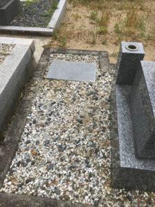 神戸市西神墓園で文字彫り