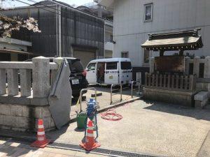 大阪市此花区の産土神社で玉垣に彫刻でした。