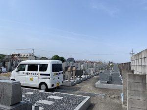 和泉市の幸王子共同墓地で文字彫り
